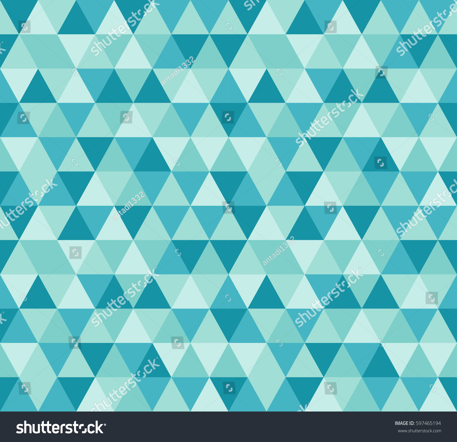 Seamless Colorful Geometric Background Triangles Turquoise Stock