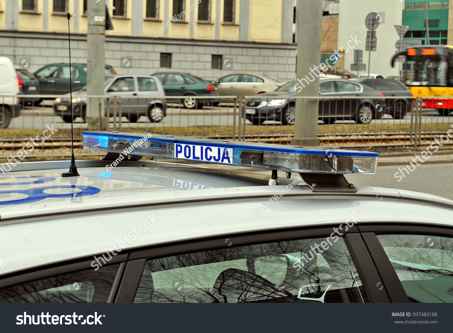 blue flashing sirens police car during stock photo 597480188