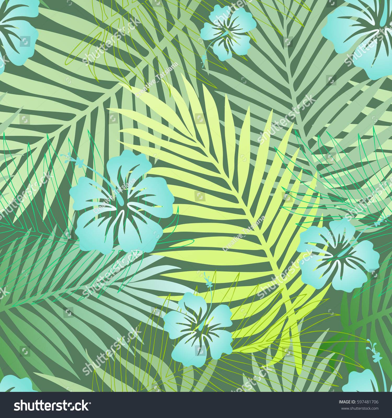 Green Tropical Palm Leaves Blue Exotic Stock Illustration 597481706