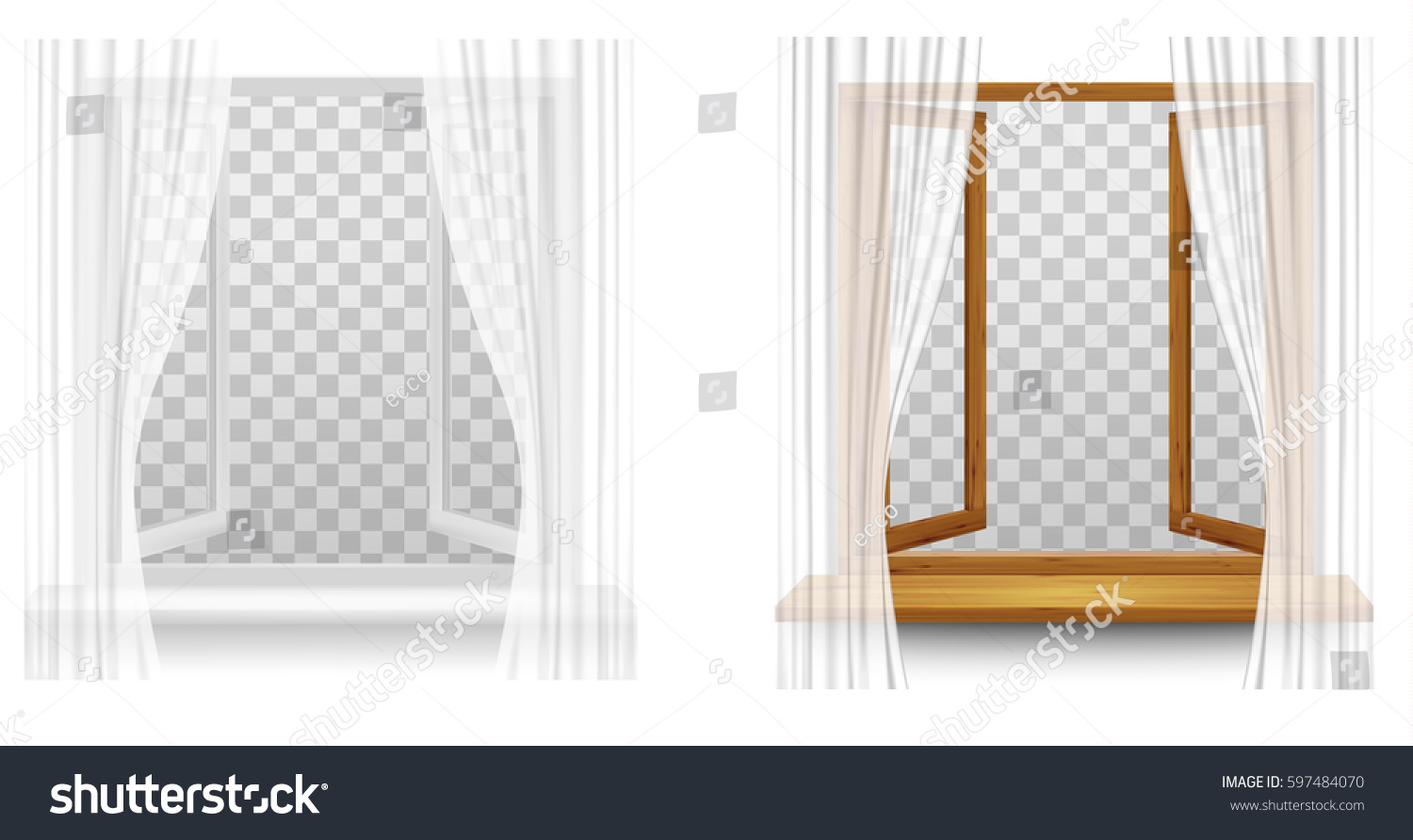 White Plastic Wooden Window Frames Curtains Stock Vector (Royalty ...