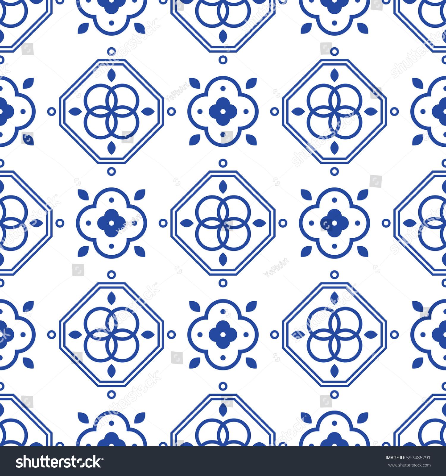Blue White Portugeese Mediterranean Seamless Tile Stock Vector HD ...