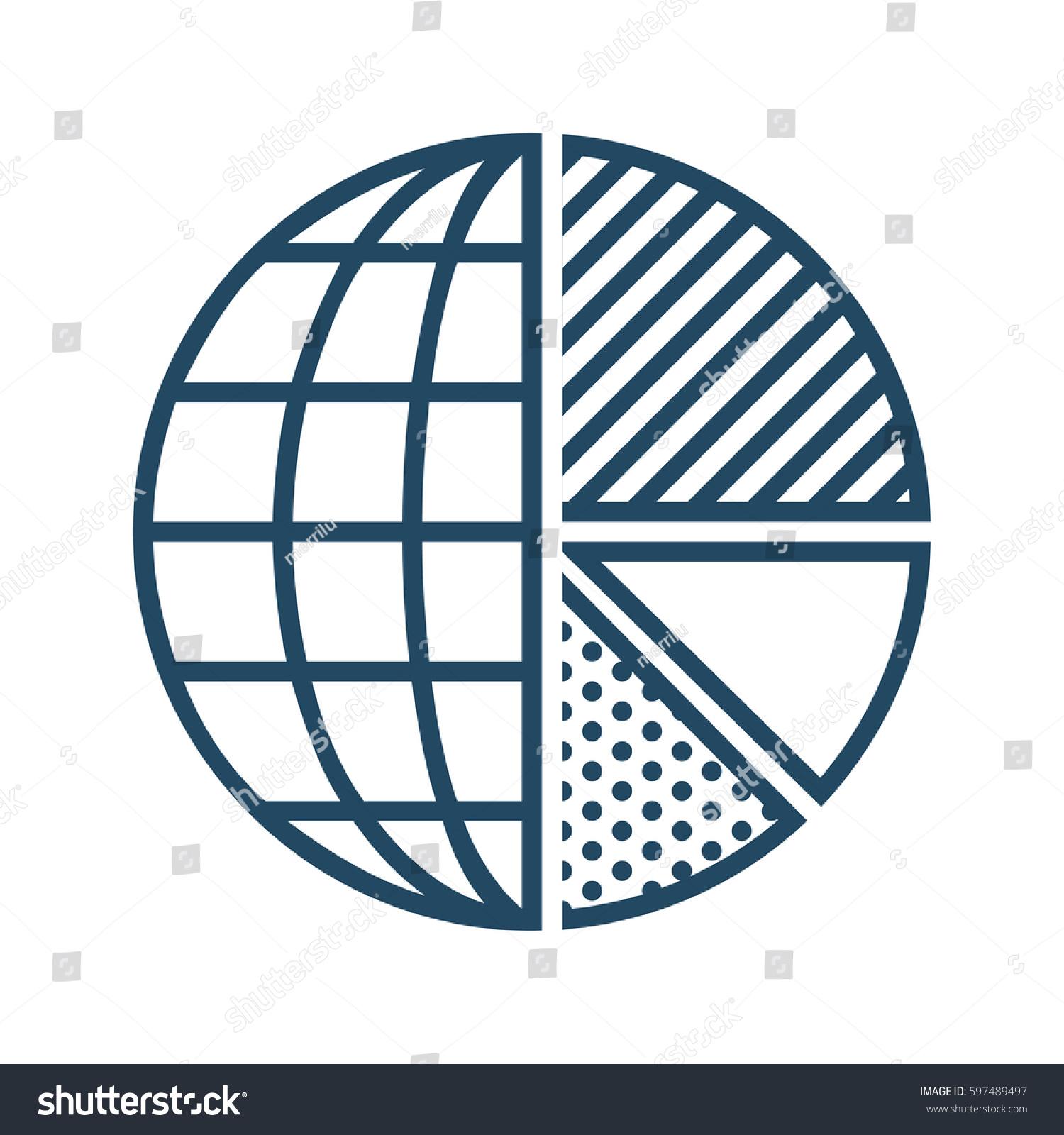 Half Globe Plus Half Pie Chart Stock Vector Royalty Free 597489497