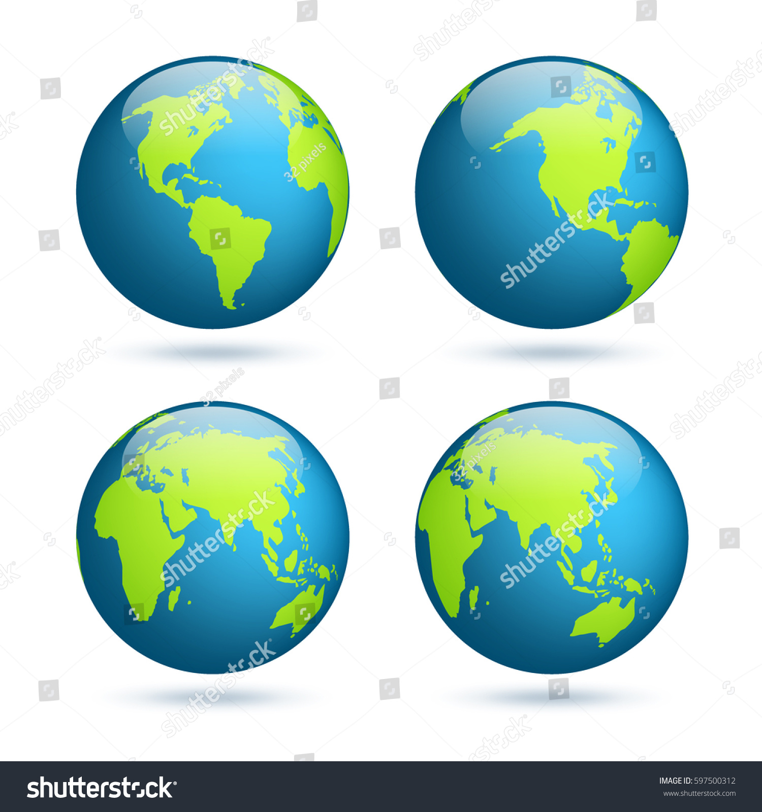 Earth globe world map set planet stock vector 597500312 shutterstock earth globe world map set planet with continentsrica asia australia gumiabroncs Choice Image