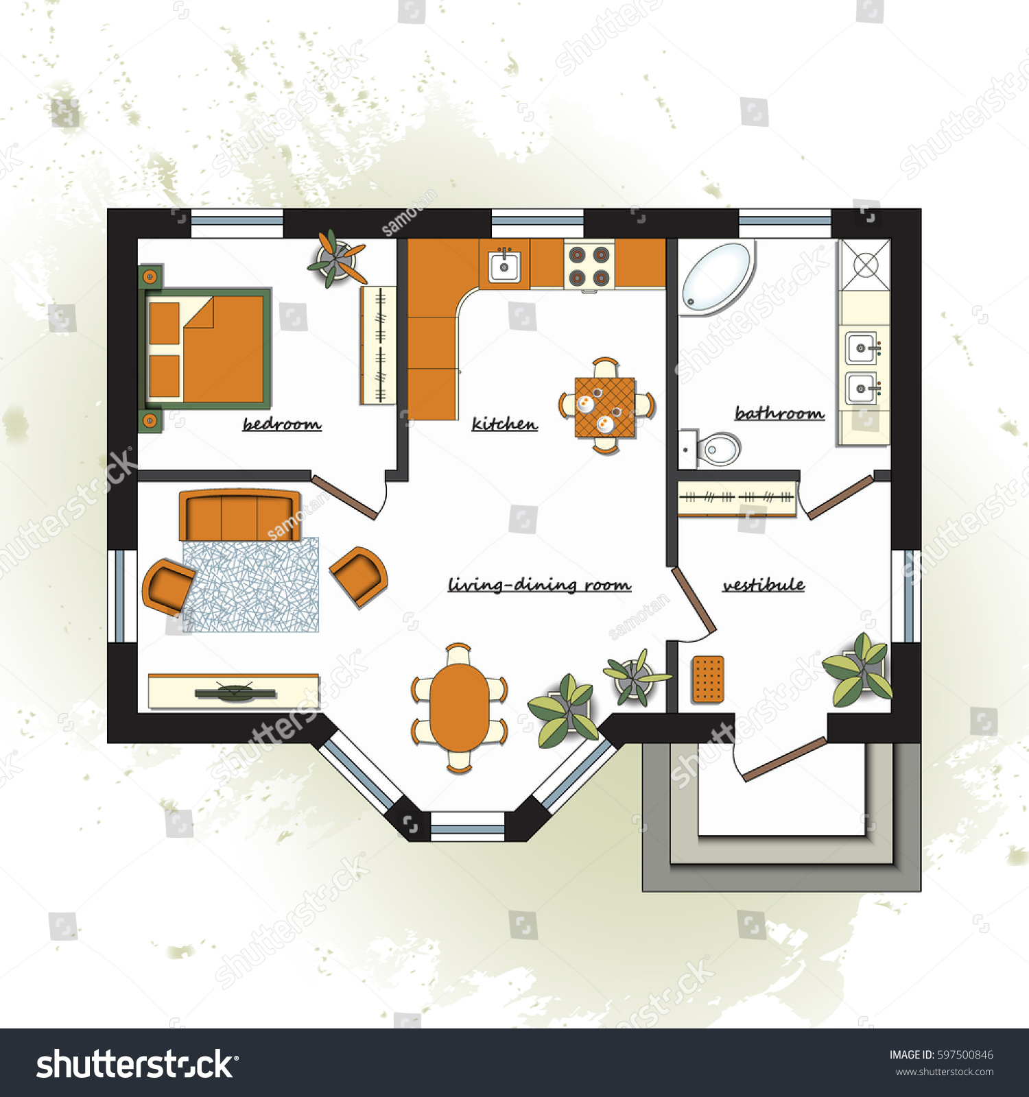 architectural color floor plan furniture top stock vector