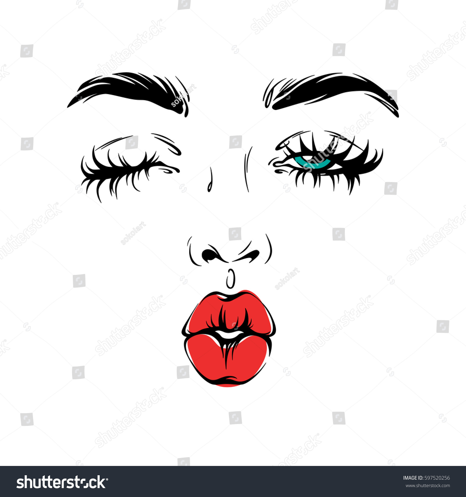 Kiss And Makeup Svg: Vector Face Portrait Illustration Young Woman Stock Vector