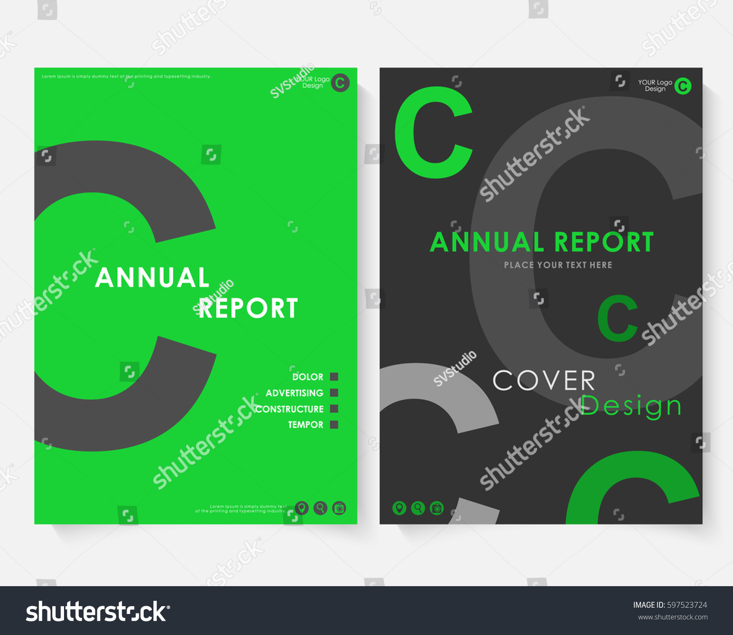 Green Square Annual Report Cover Design Stock Vector Royalty Free