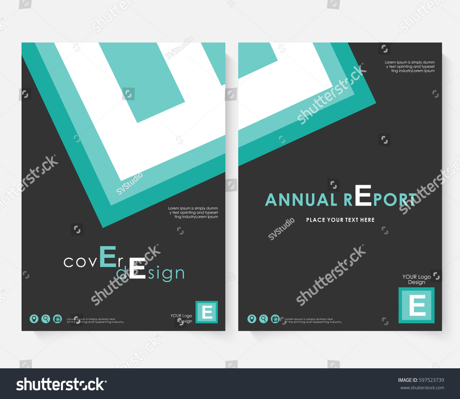 Blue Square Annual Report Cover Design Stock Vector Royalty Free