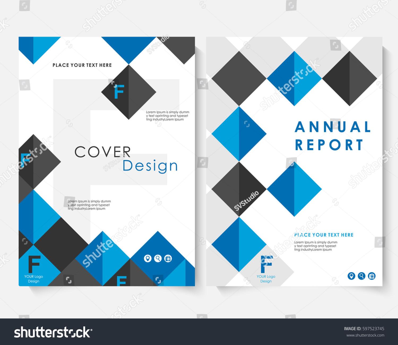 Blue Square Annual Report Cover Design Vector de stock597523745 ...