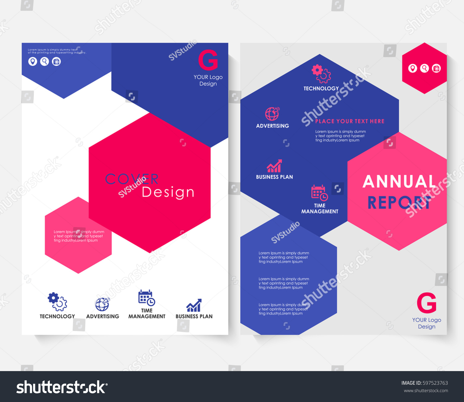 Color Hexagon Annual Report Cover Design Stock Vector Royalty Free