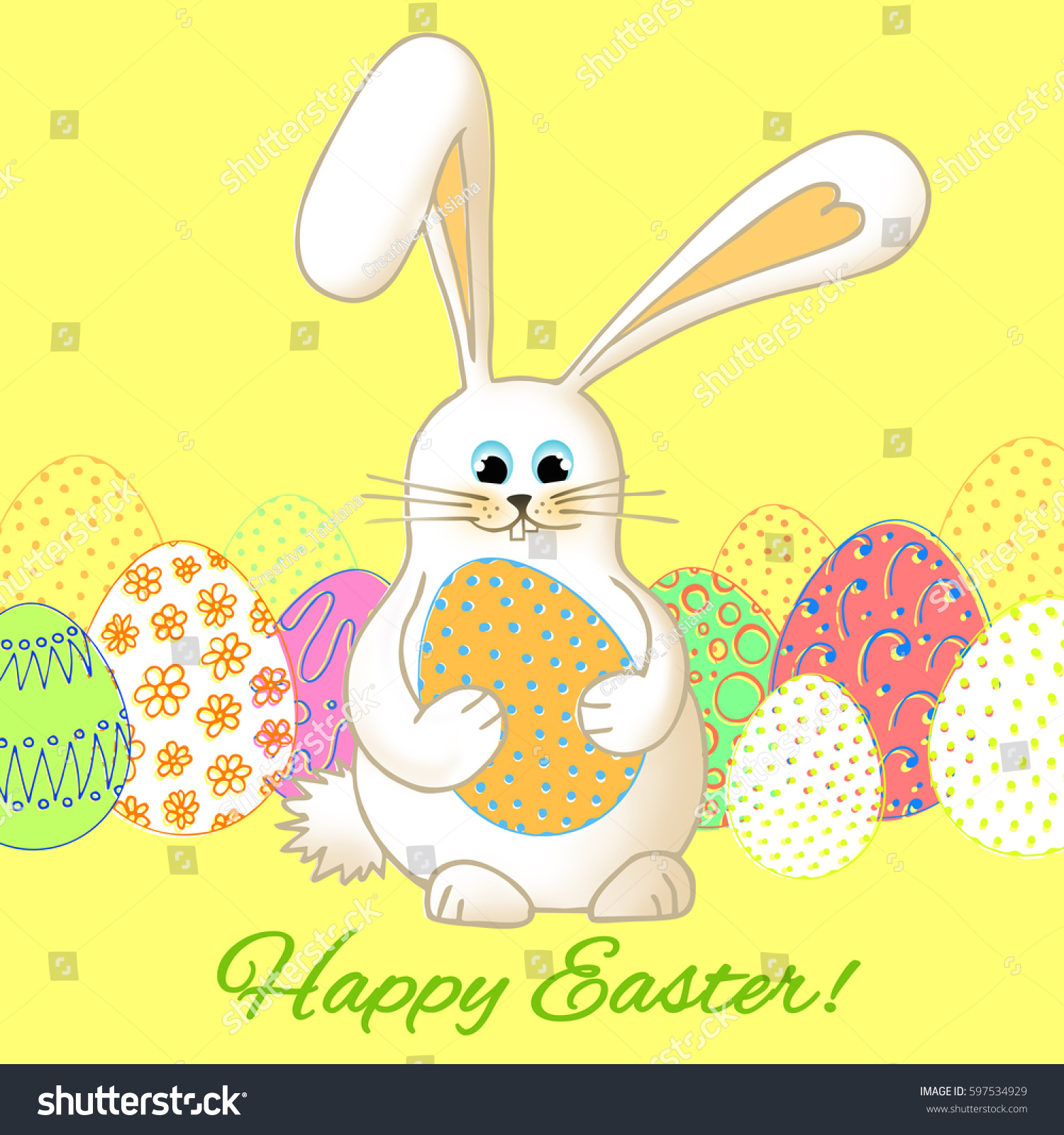 Cute Easter Bunny Beautiful Postcard Template Stock Illustration