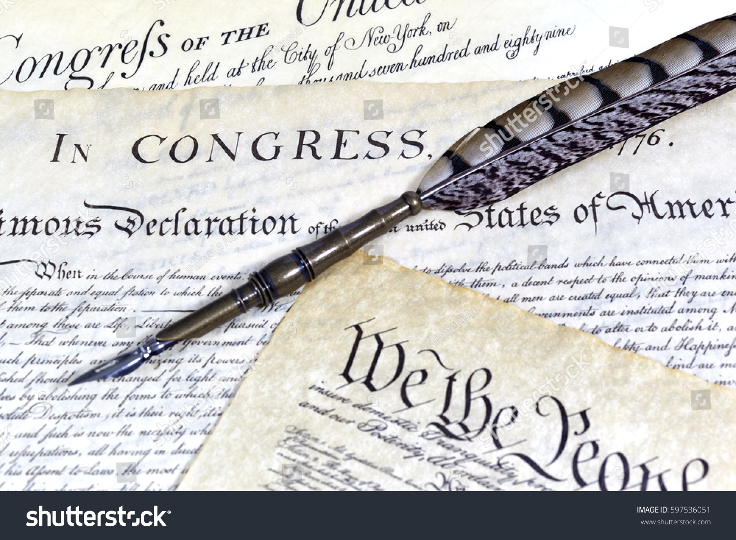 us constitution declaration independence bill rights stock photo