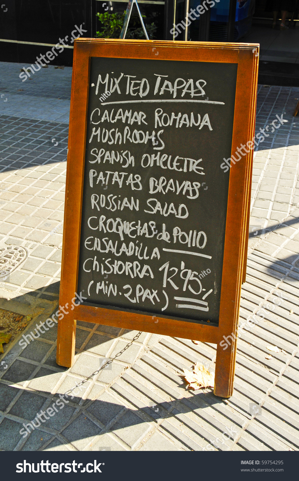 A blackboard menu on a restaurant terrace stock photo for Terrace restaurant menu