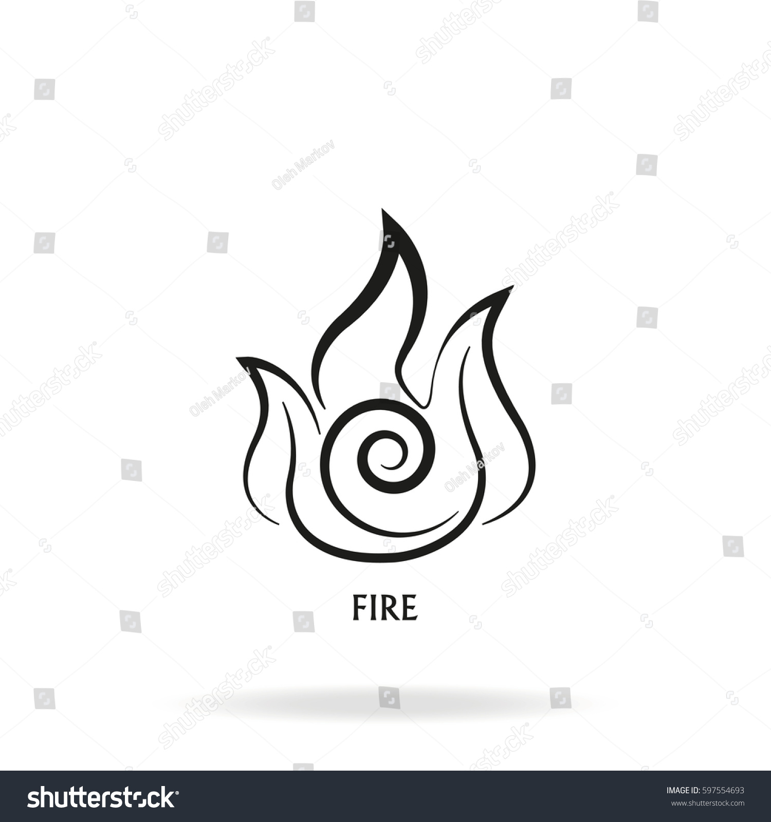 Ancient Symbol Fire Element Subscribe Stock Illustration 597554693