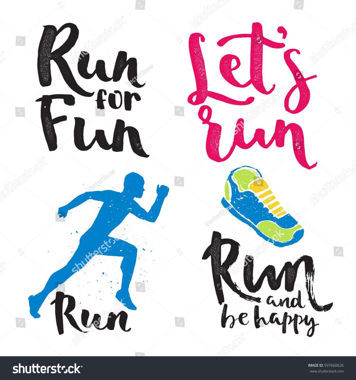 Running Man Marathon Logo Jogging Emblems Stock Vector 2018