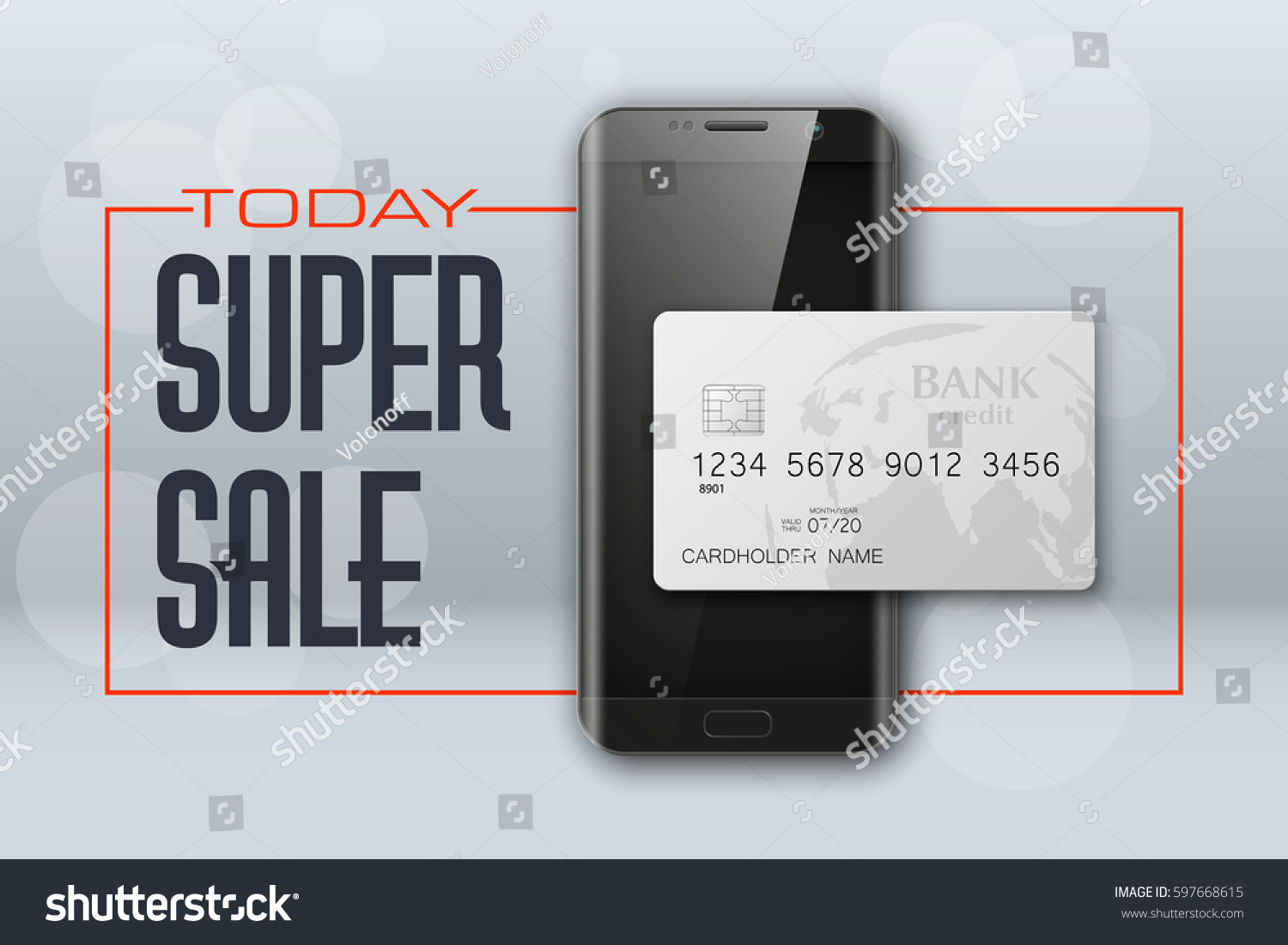 Smartphone Sale Banner Credit Card Advertising Stock Photo (Photo ...