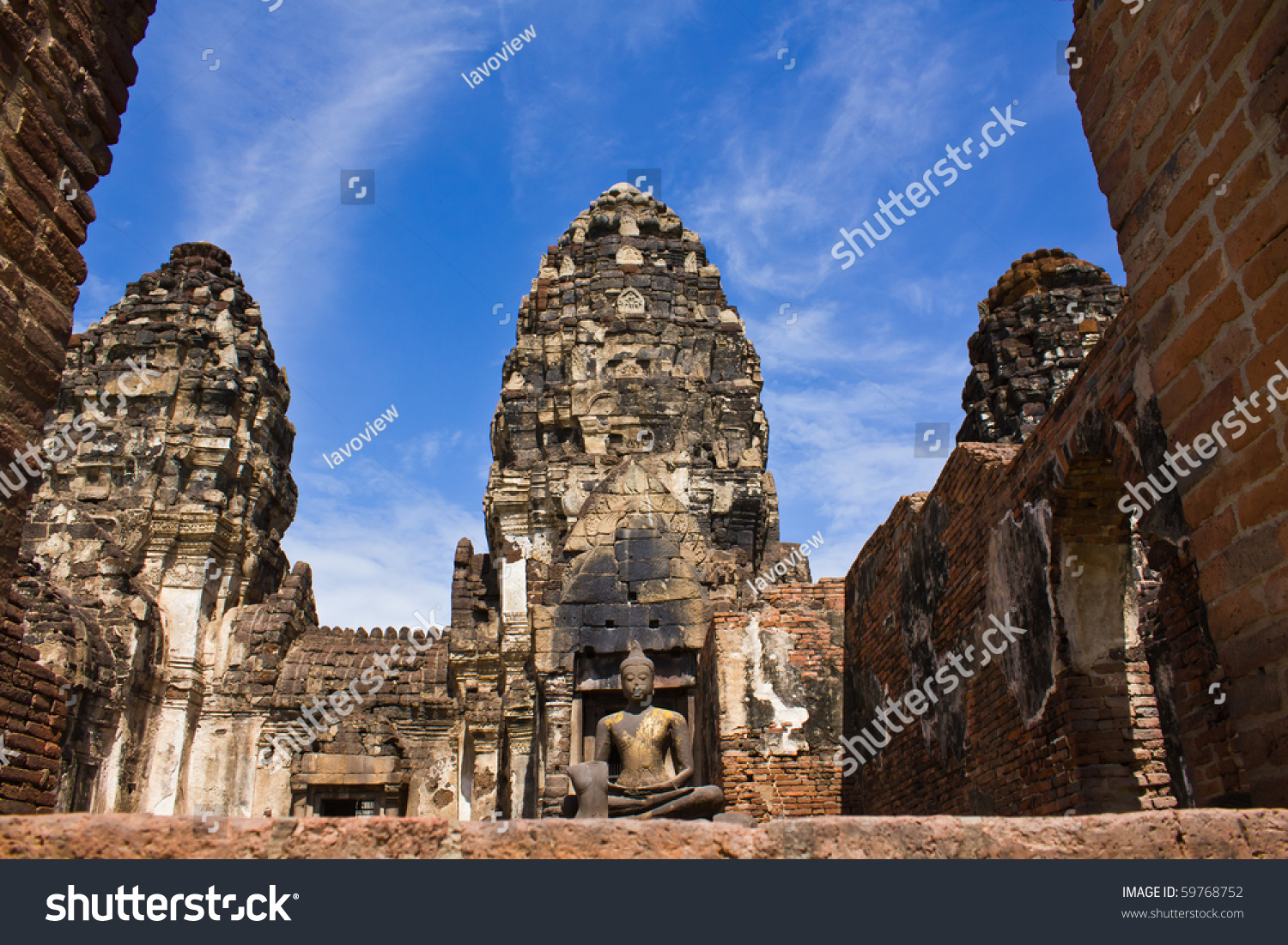 Phra Prang Sam Yod Pagoda In Lopburi Of Thailand Stock ...