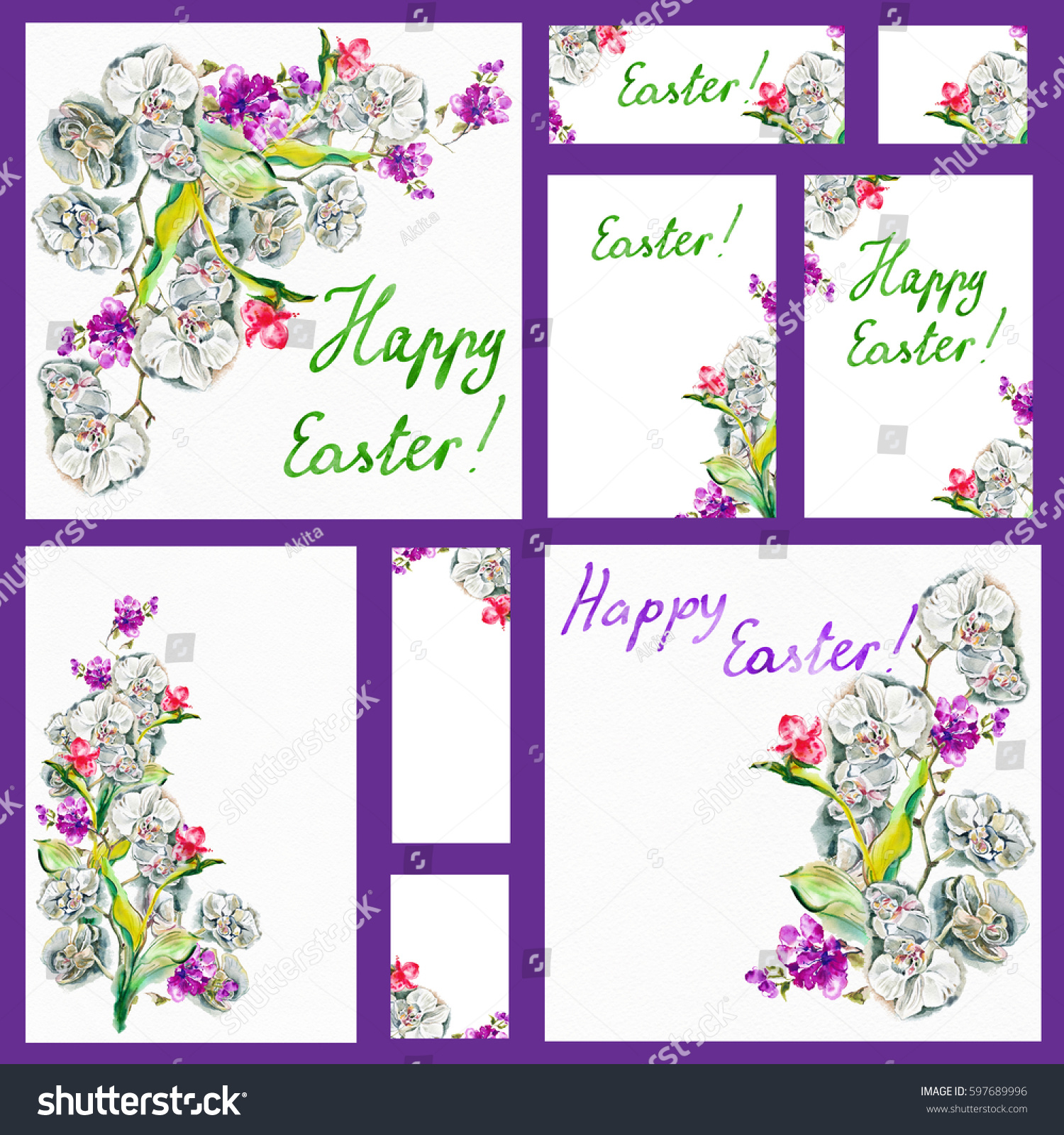 Happy Easter Easter Frame Hand Drawn Black Stock Illustration ...