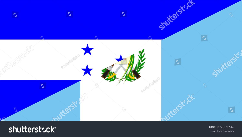 Honduras Guatemala Neighbor Countries Half Flag Stock Illustration
