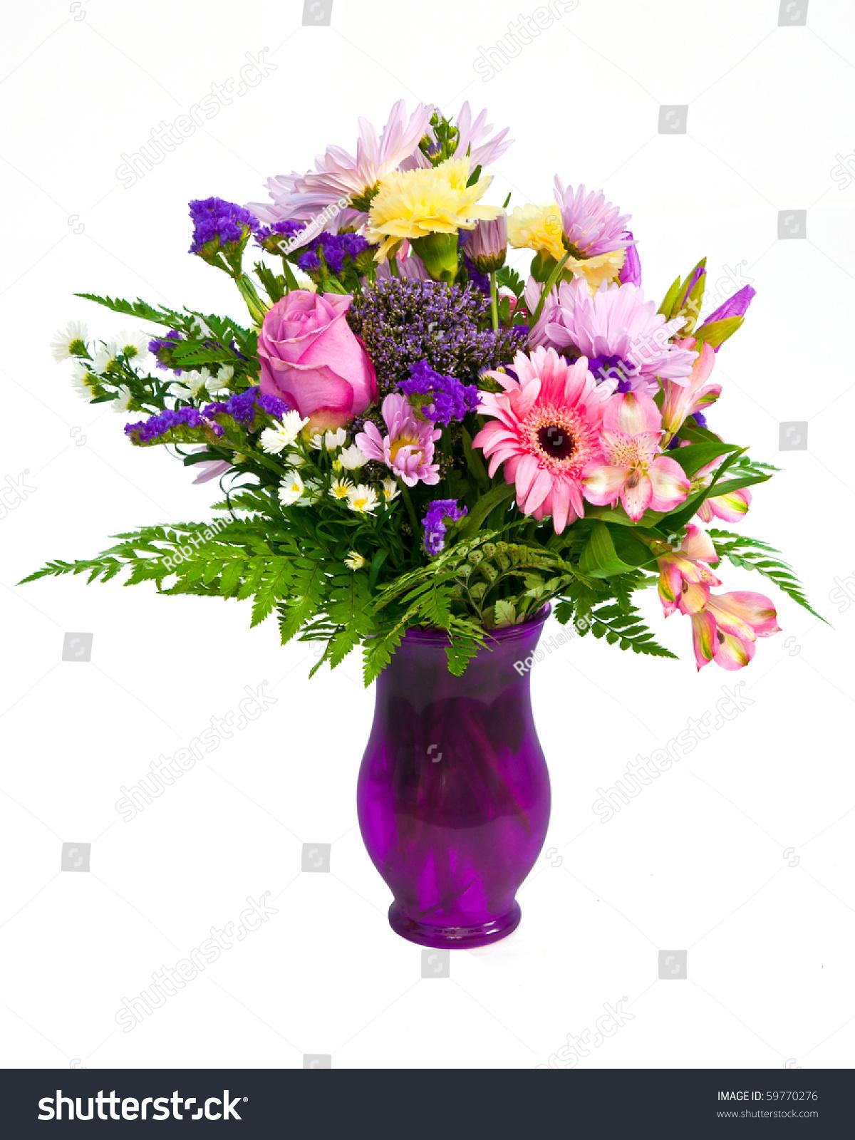 Colorful Flower Bouquet Arrangement Vase Isolated Stock Photo ...