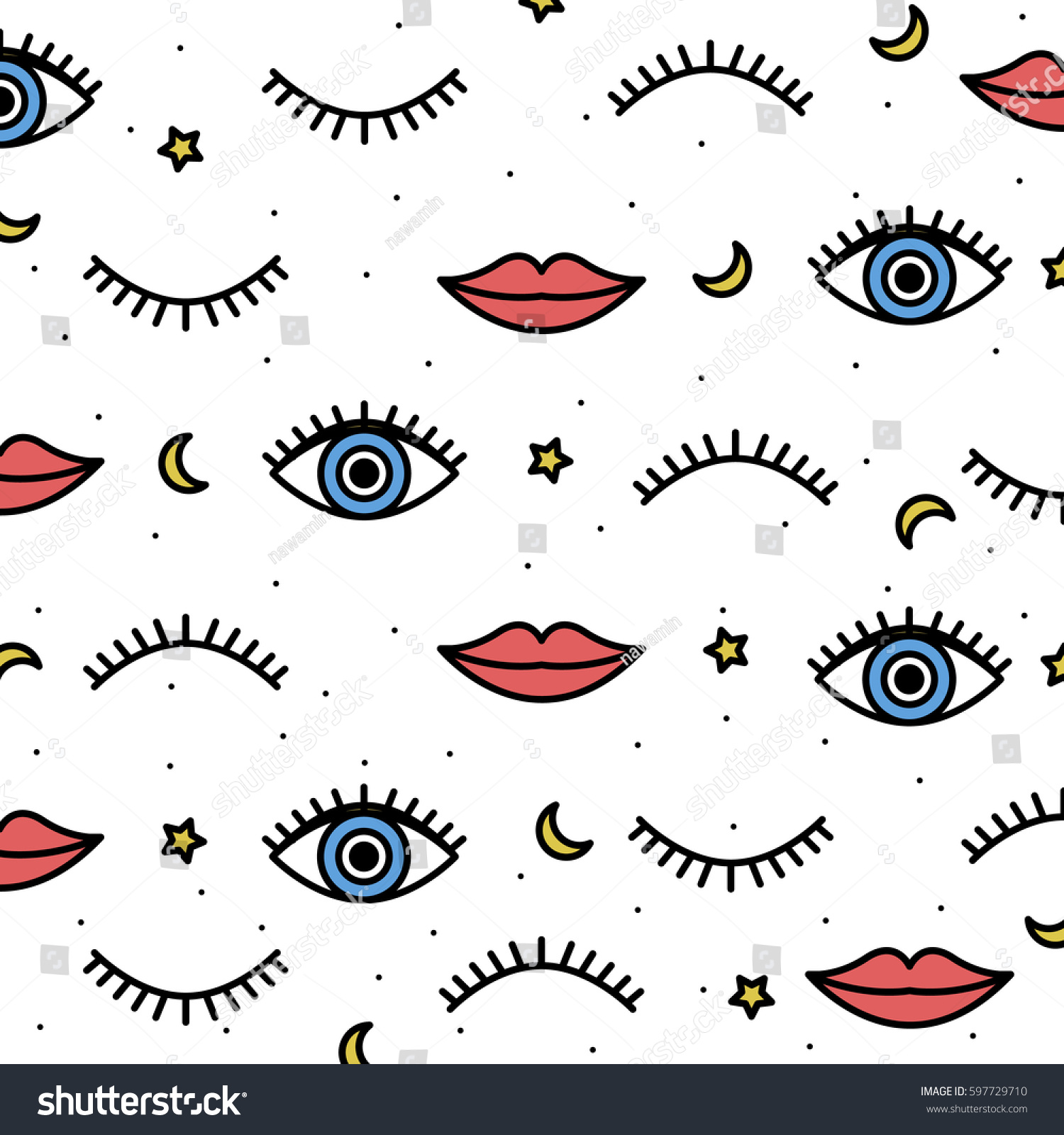 Fabric Book Cover Template : Seamless pattern style psychedelic eyes his stock vector