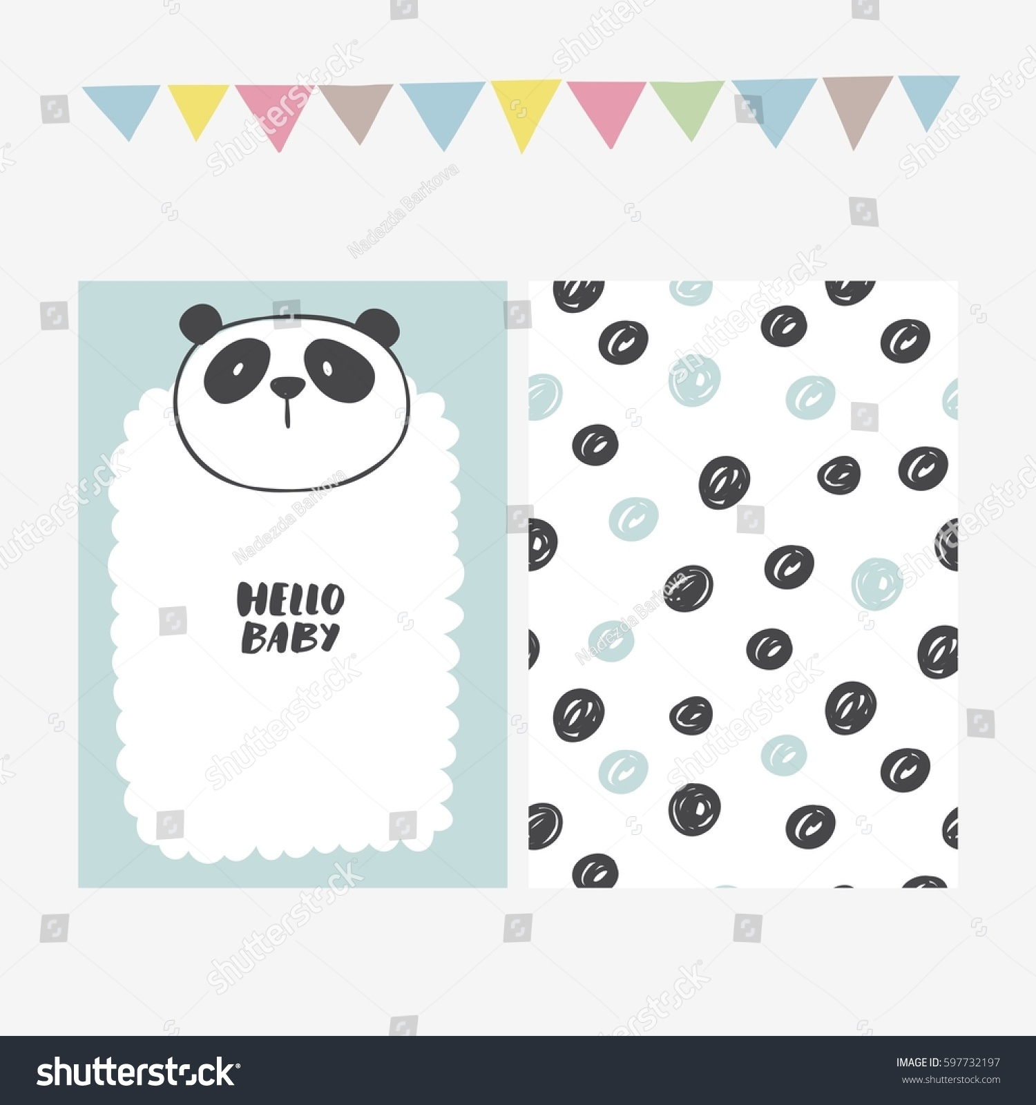 Cute Print Panda Baby Shower Invitation Stock Vector 597732197 ...