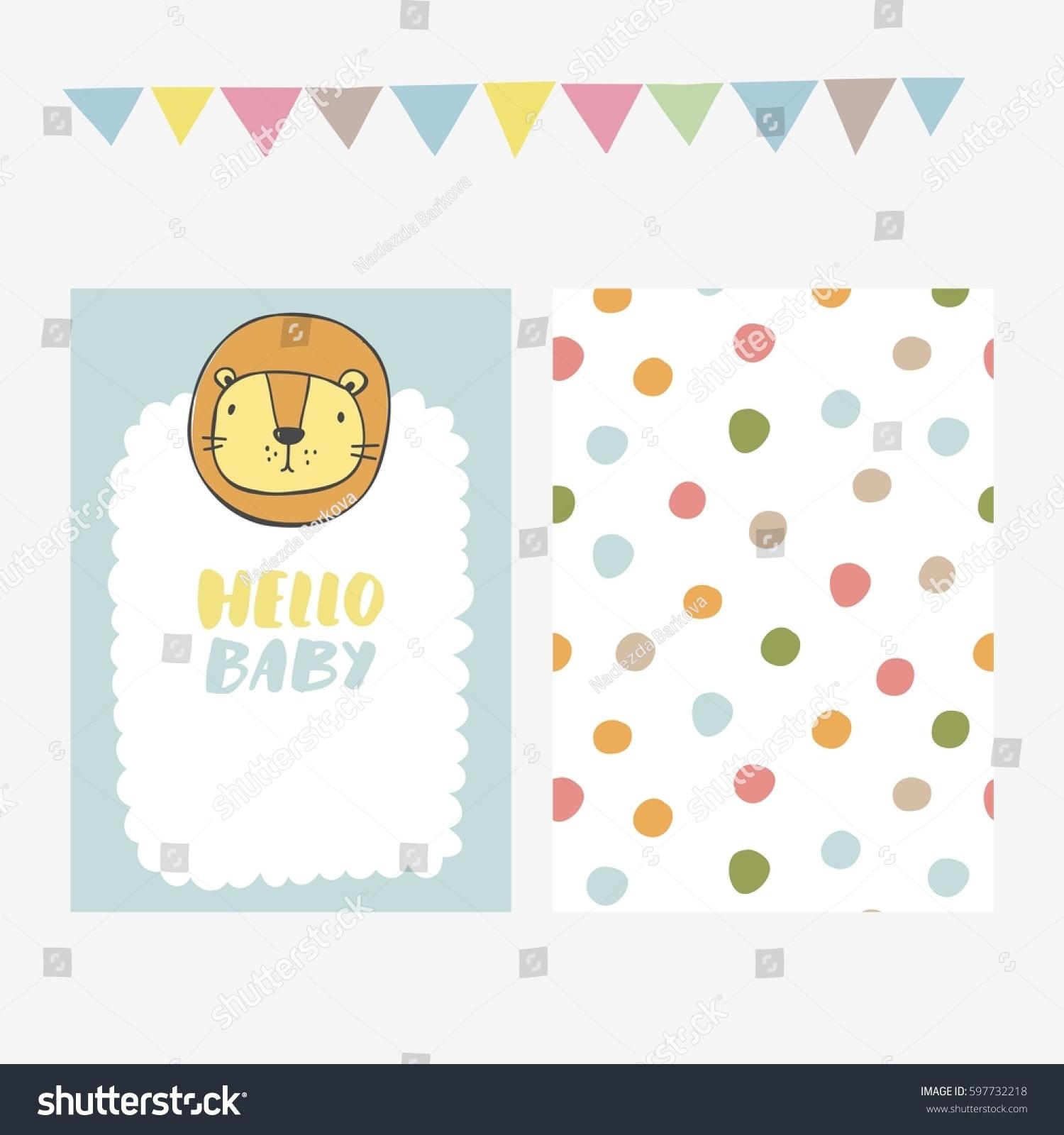 Cute Print Lion Baby Shower Invitation Stock Vector 597732218 ...