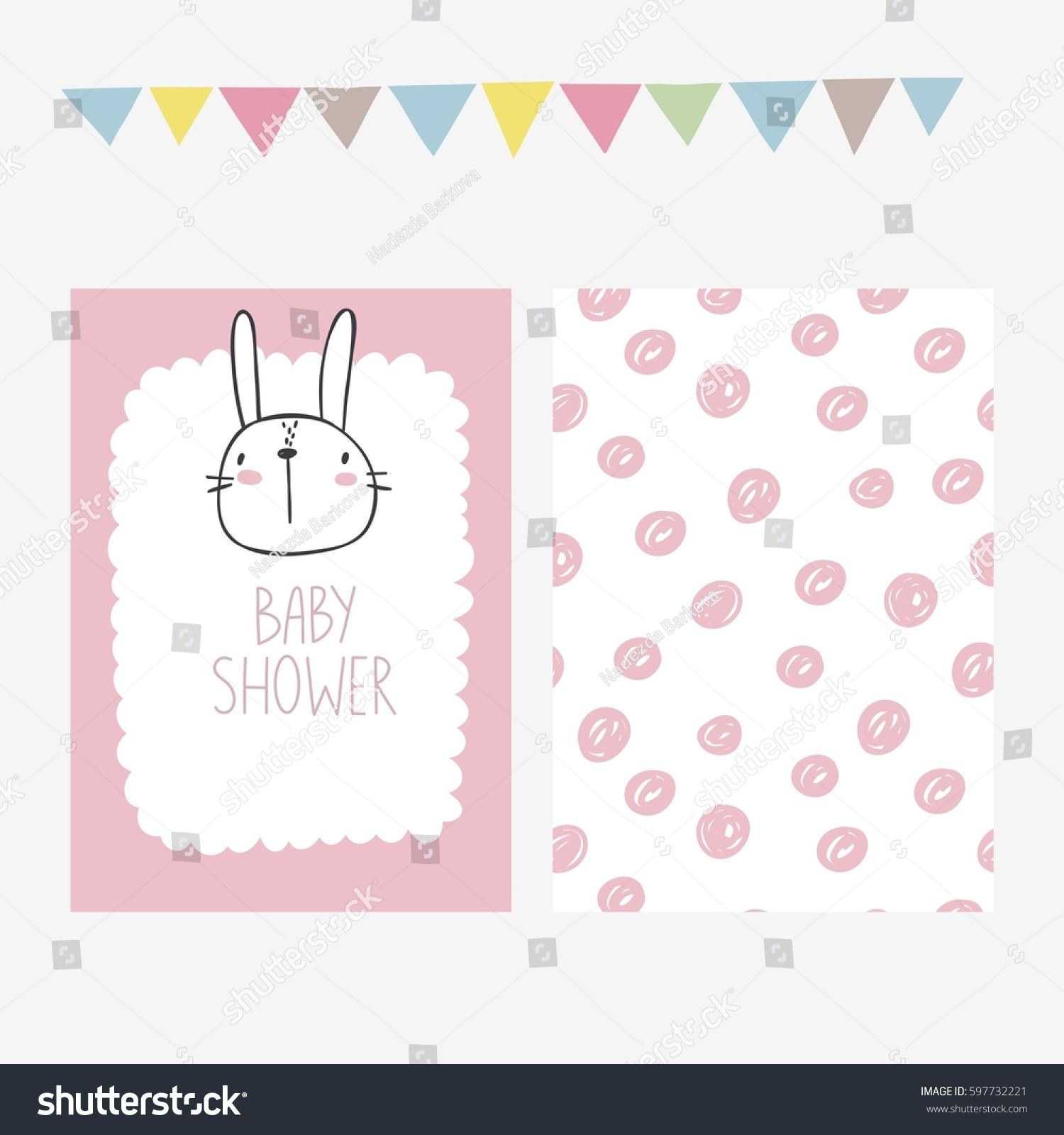Cute Print Bunny Baby Shower Invitation Stock Vector 597732221 ...