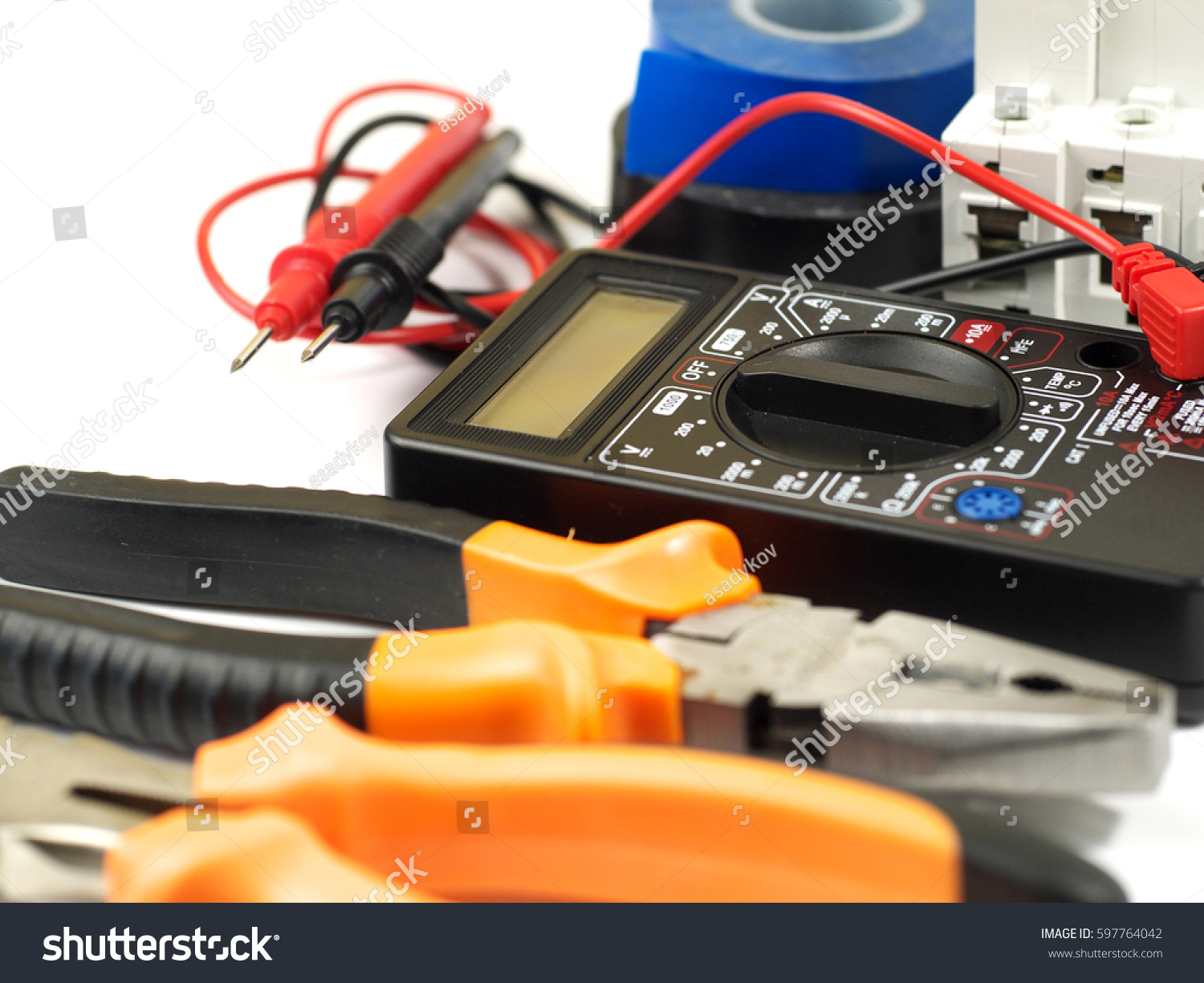 Set Of Electrician Tools And Equipment On White Background Selective Focus