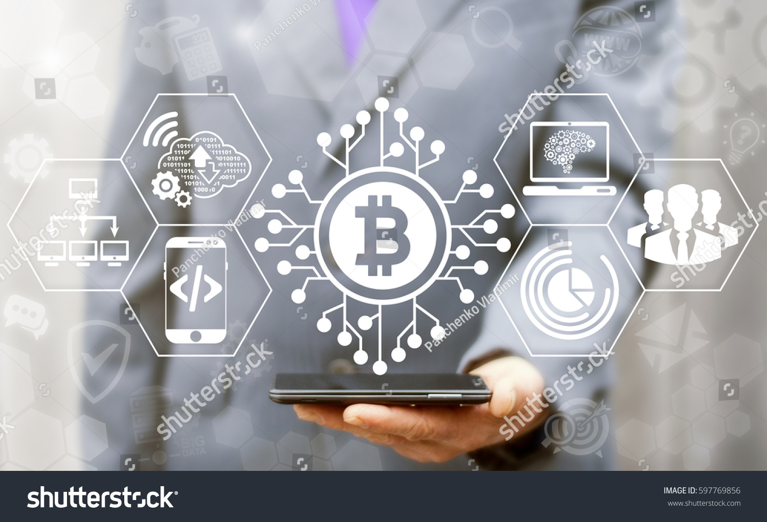 Blockchain finance web money business concept. Man offer smartphone with bitcoin microcircuit icon on virtual financial screen. Internet cryptocurrency block chain production and generation technology #597769856