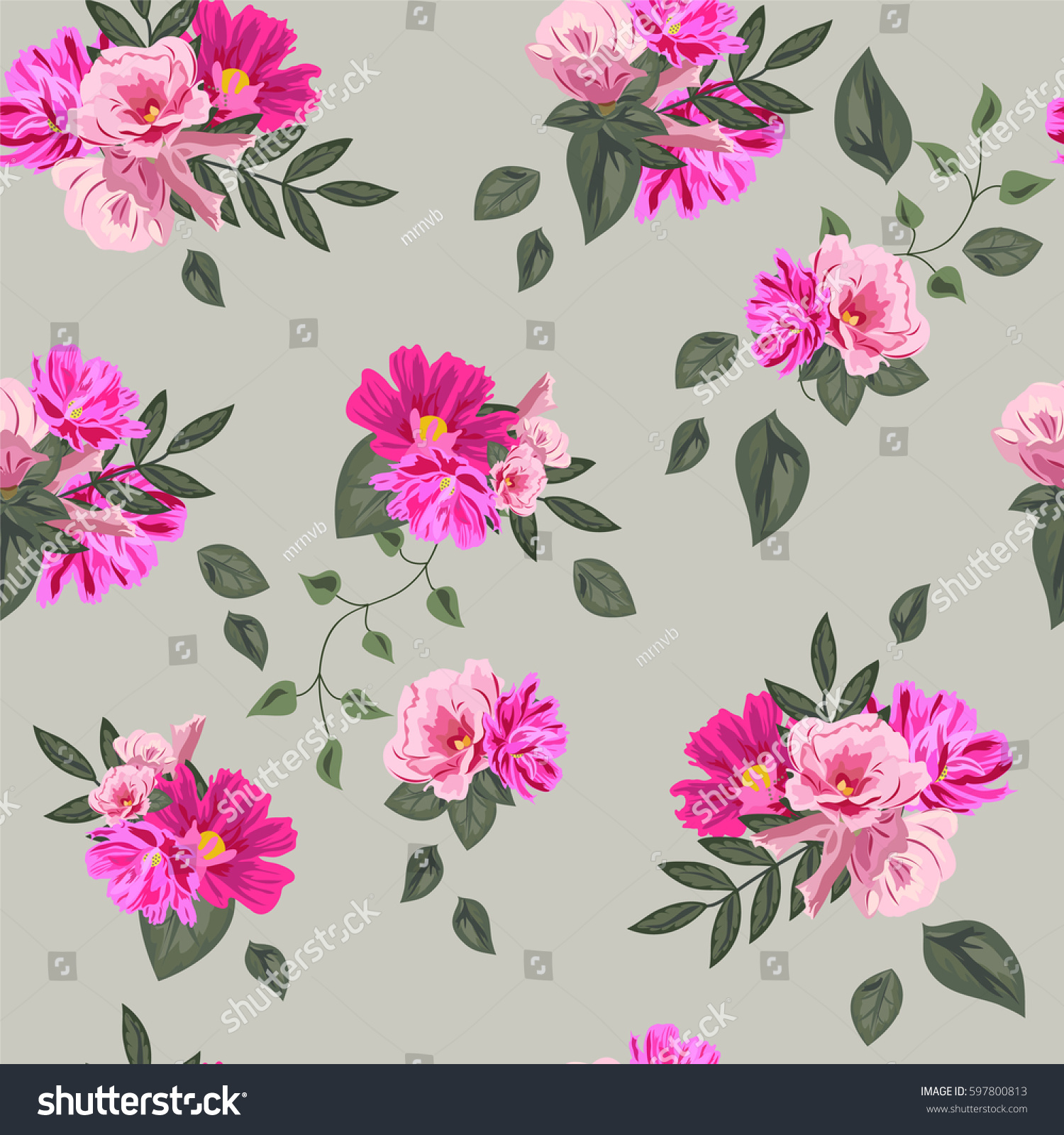 Vintage Seamless Pattern Cute Pink Flowers Stock Vector Royalty