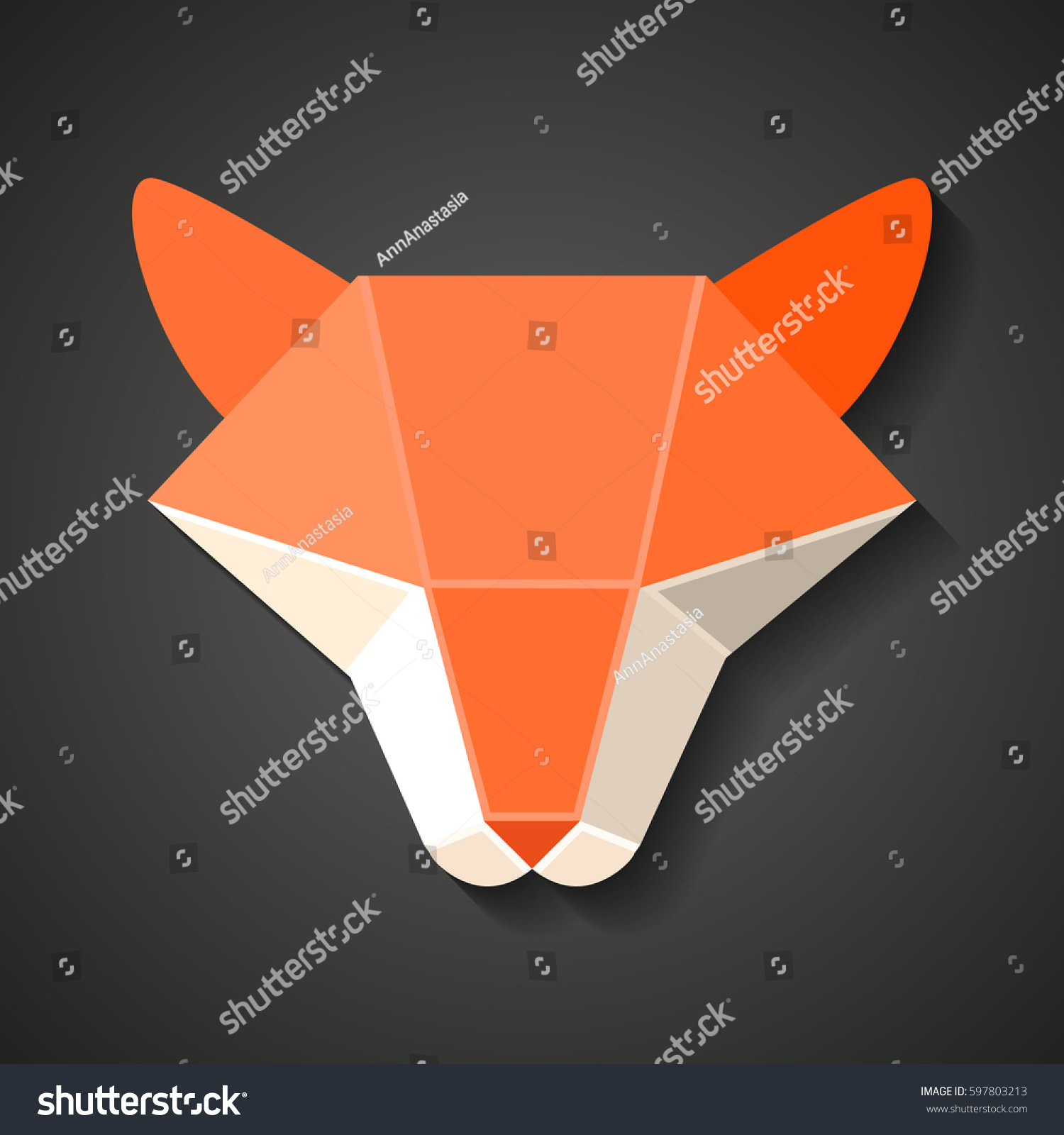 Origami fox head abstract animal paper stock vector 597803213 origami fox head abstract animal paper geometric logo emblem for designers jeuxipadfo Image collections