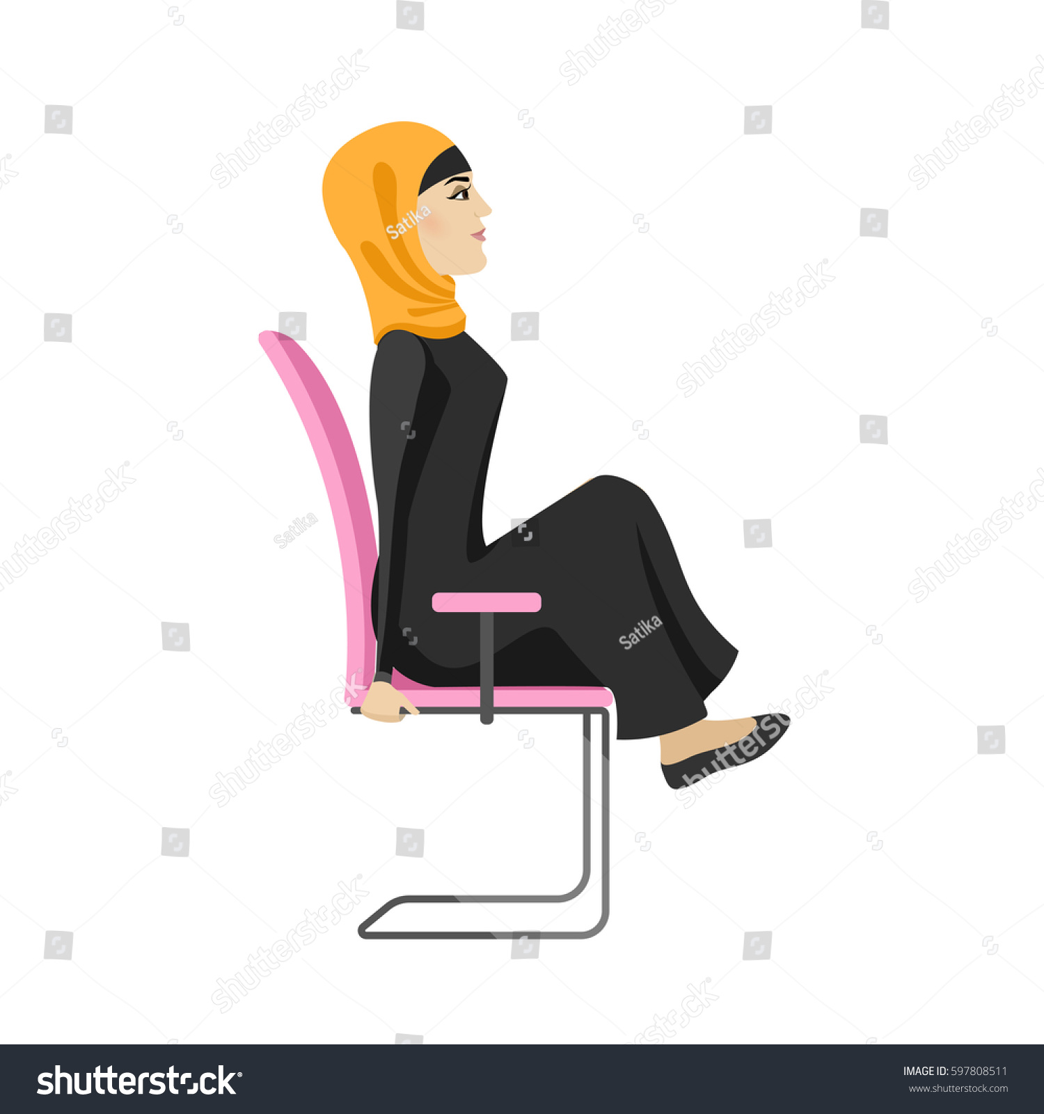 Muslim Woman Doing Exercises fice Stock Vector