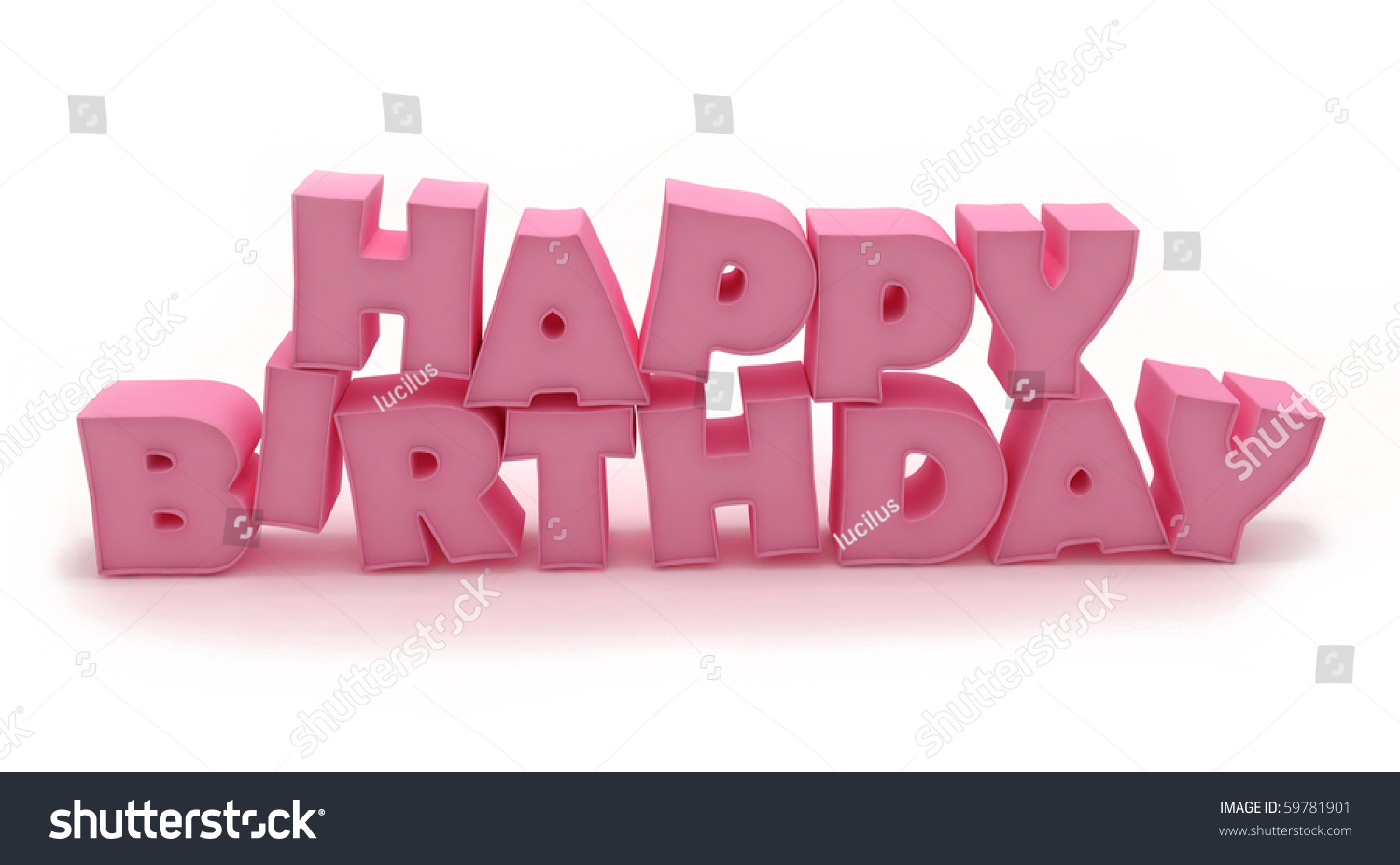 3d Pink Happy Birthday Stock Photo 59781901 : Shutterstock