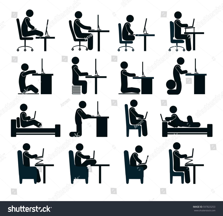 Bad Good Working Position Human puter Stock Vector