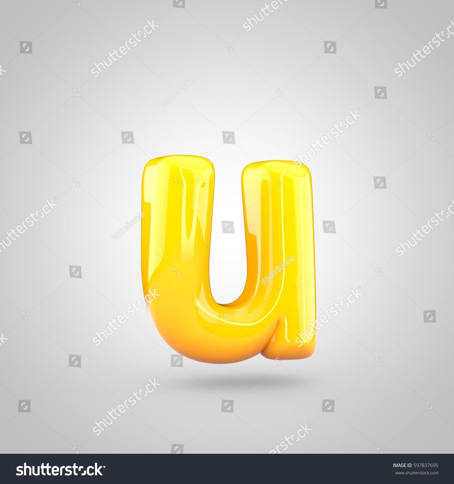 glossy yellow paint letter u lowercase stock illustration 597837695