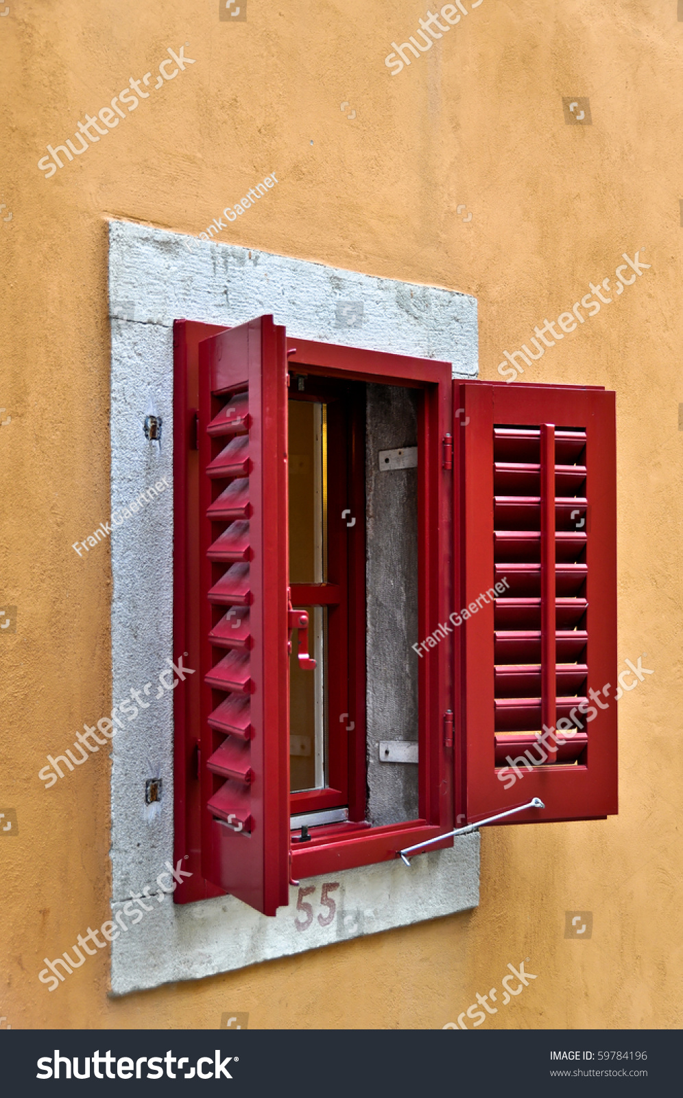 Red Window Shutters Opened On Bright Stock Photo 59784196