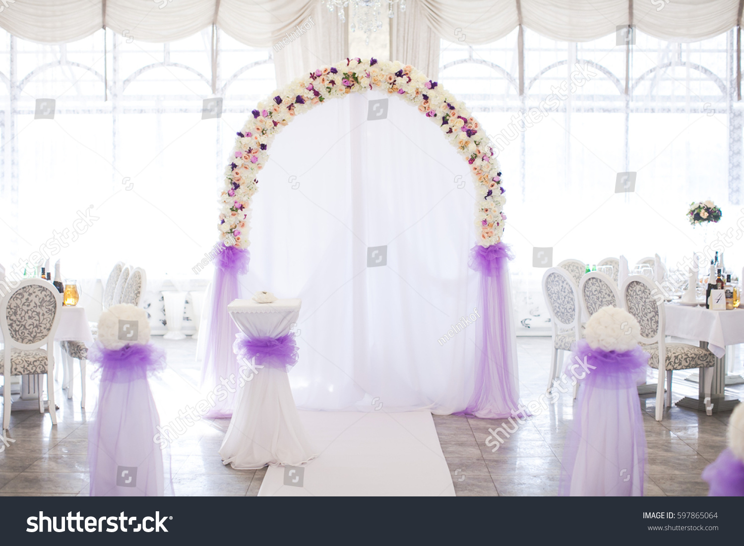 Flower Arch Fresh Colors Wedding Ceremony Stock Photo (Edit Now ...