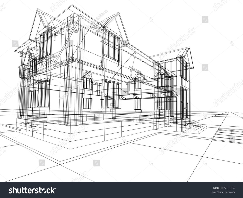 3 D Rendering Wireframe House White Background Stock Illustration ...