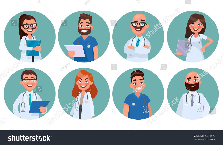 Set Doctors Hospital Staff Avatars Medical Stock Vector Royalty