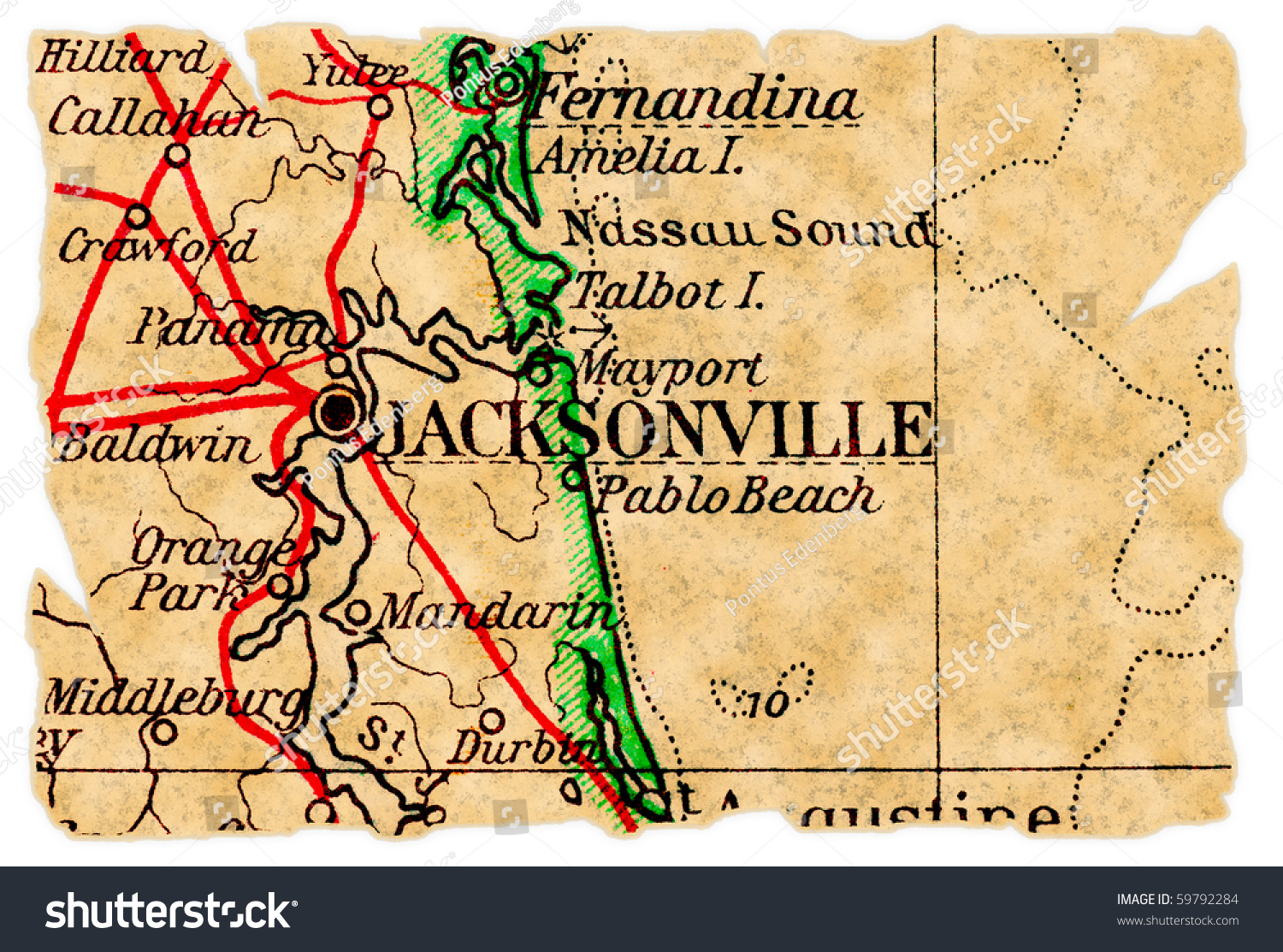 Jacksonville Florida On Old Torn Map Stock Photo Edit Now 59792284