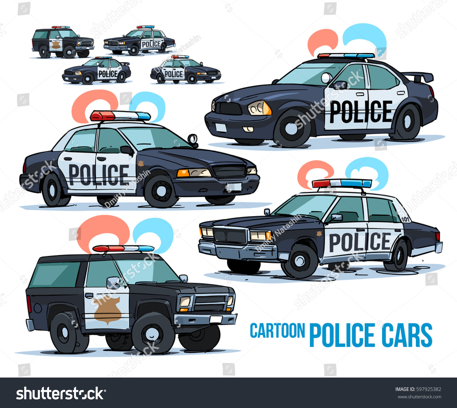 Cartoon Police Cars Isolated On White Stock Vector