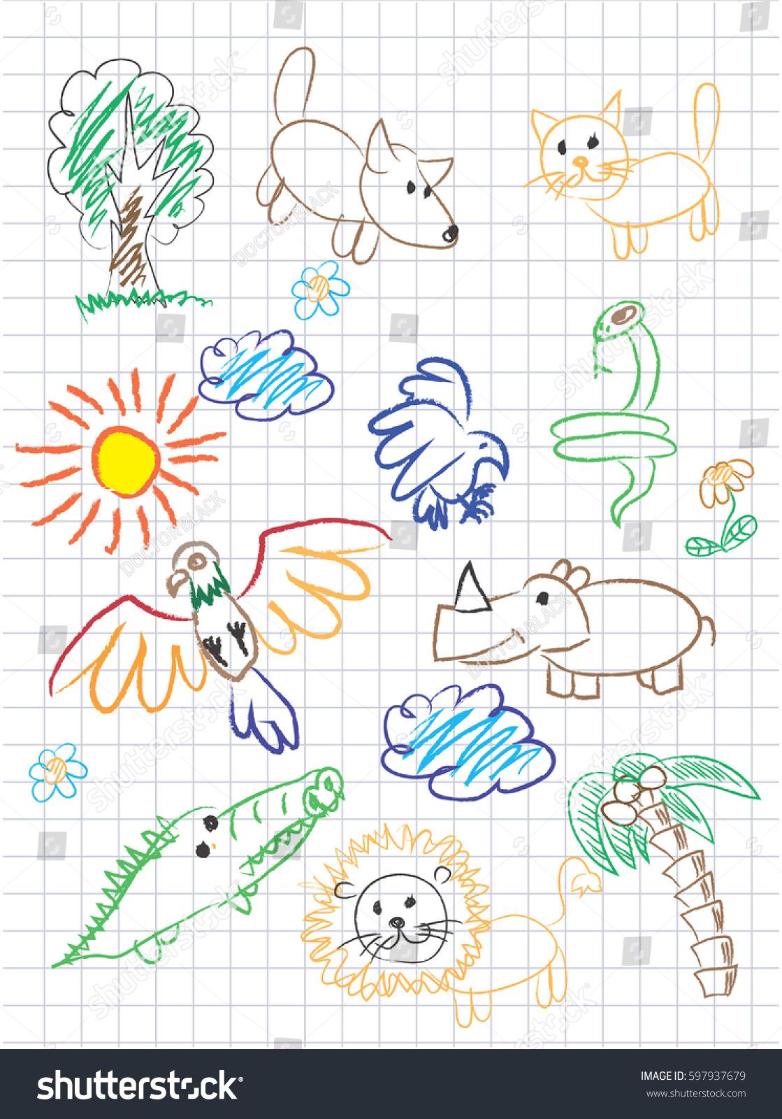 vector elements design stylised under childrens stock vector