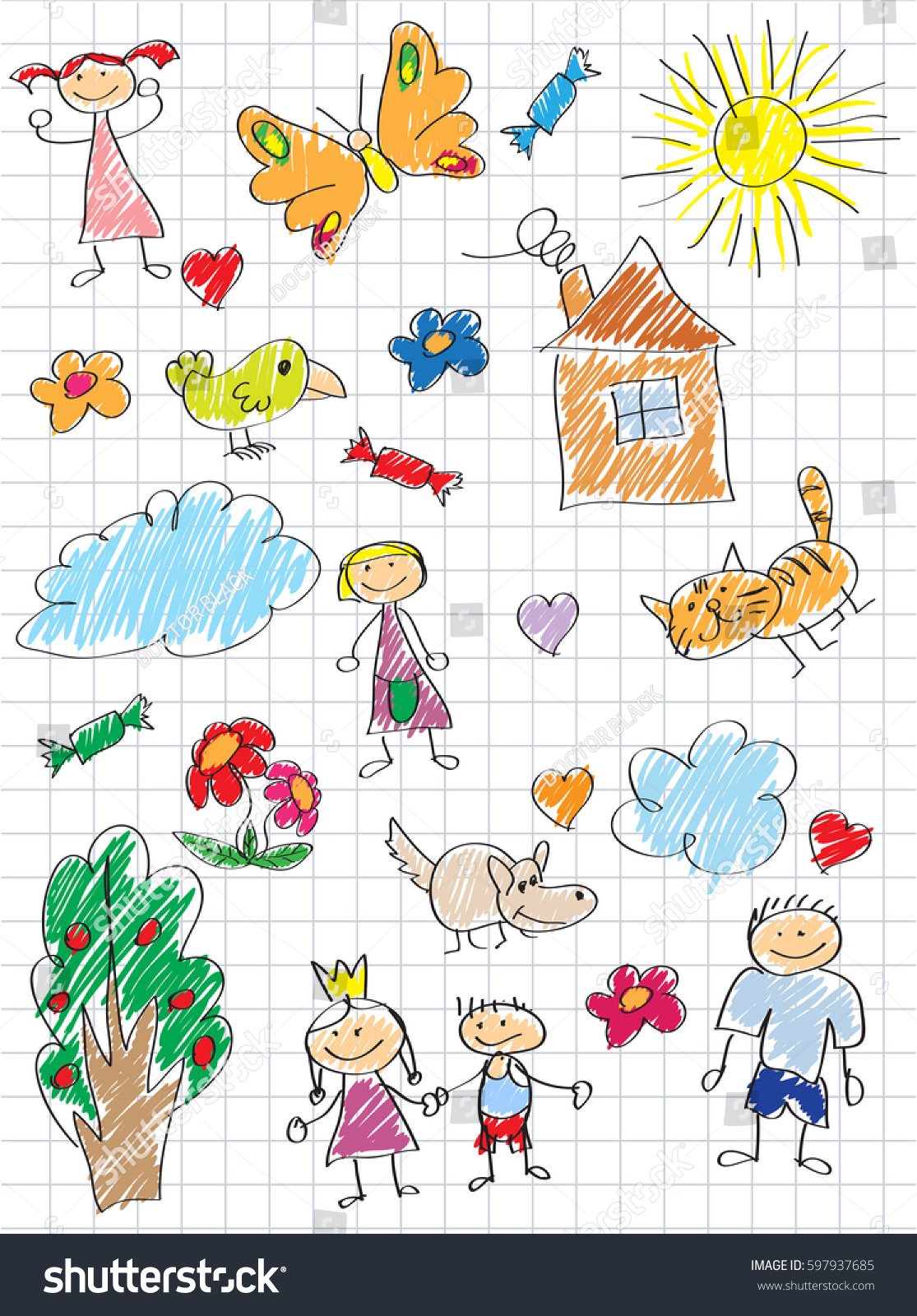 Vector Elements Design Stylised Under Childrens Stock Vector HD ...