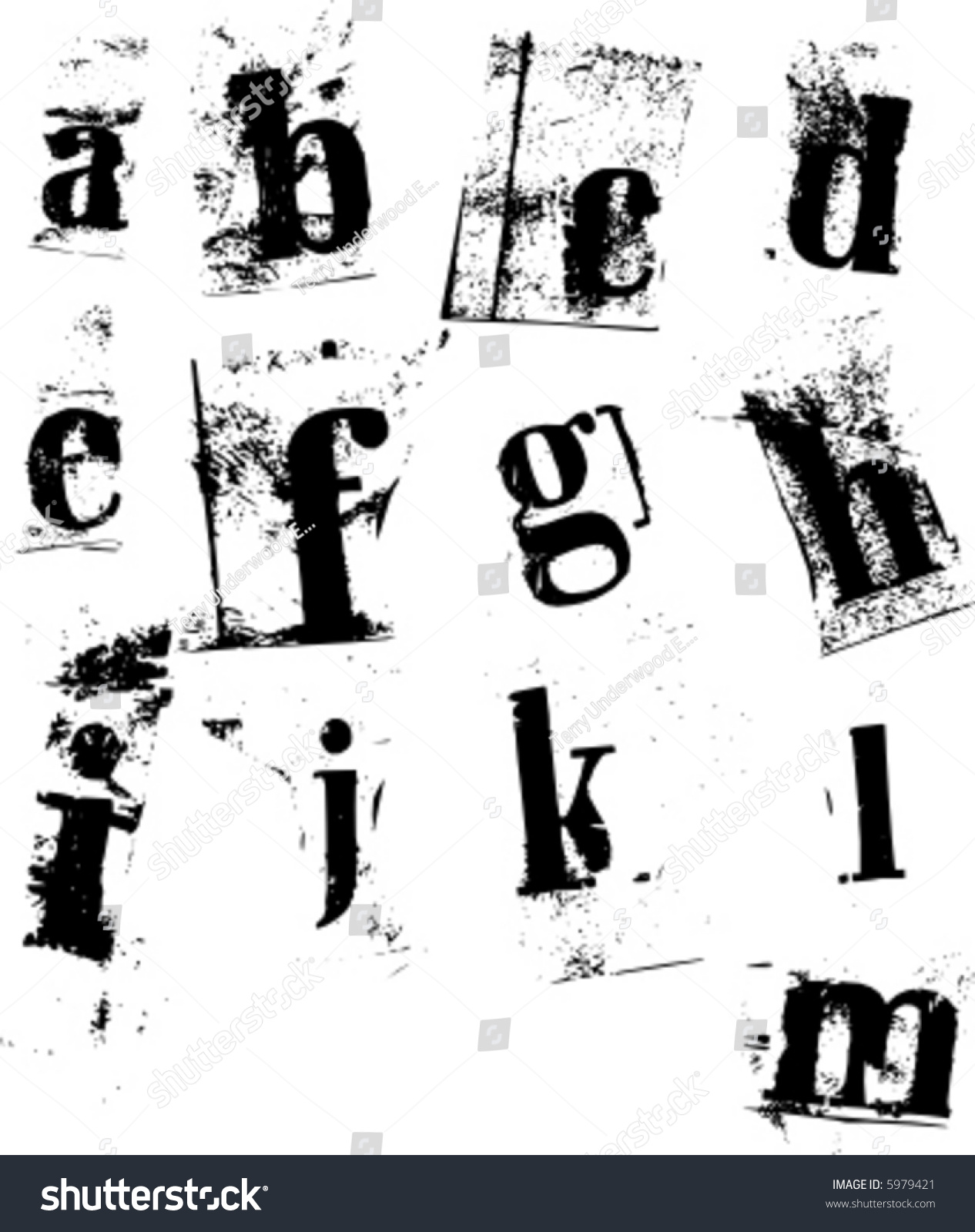 lower case newspaper cutout letters a m