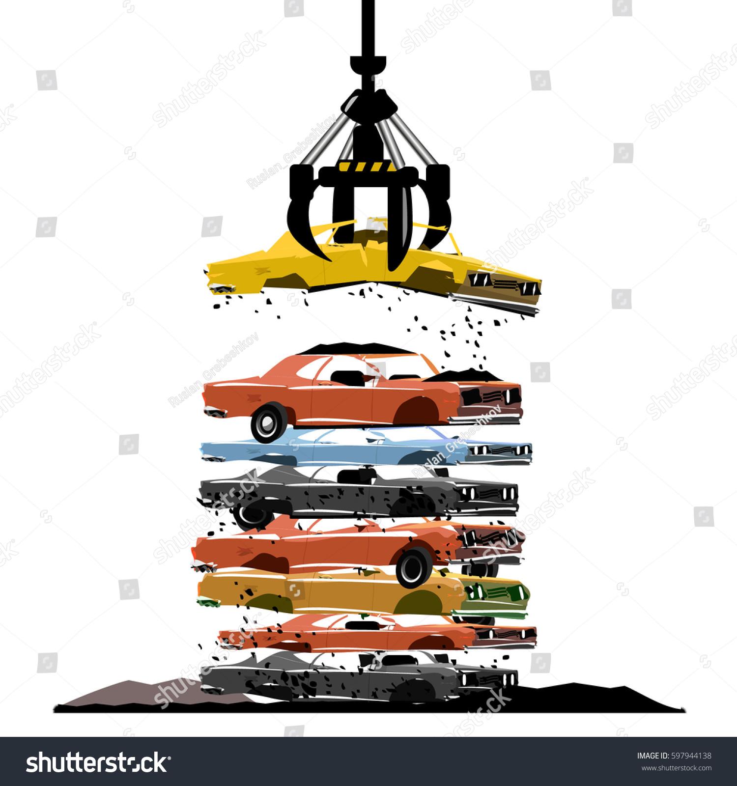 Cars Salvage Junkyard Stock Vector HD Royalty Free