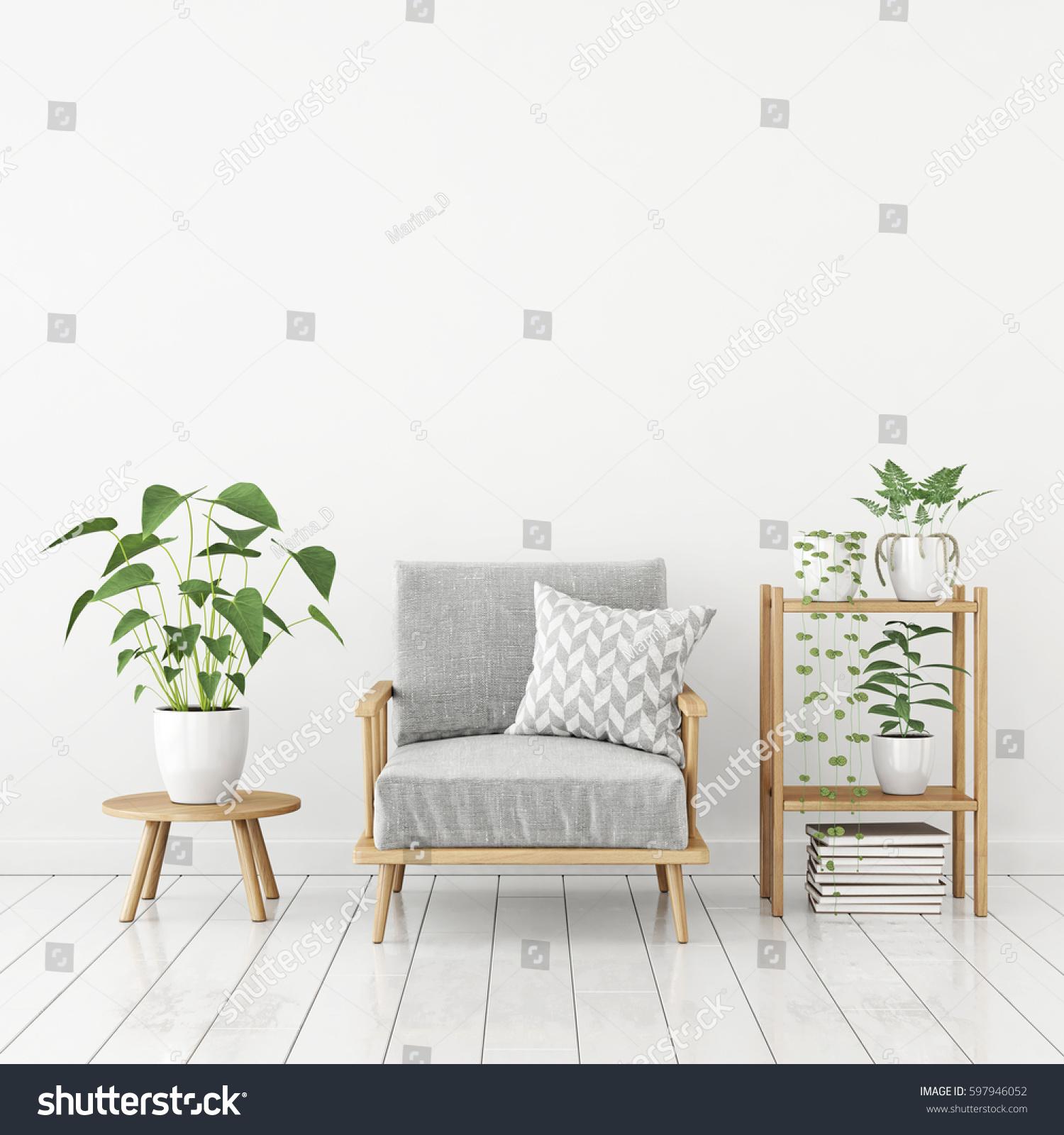 White Livingroom Interior Scandinavian Style Gray Stock Illustration ...