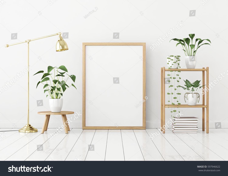 Vertical Poster Mock Wooden Frame On Stock Illustration 597946622 ...