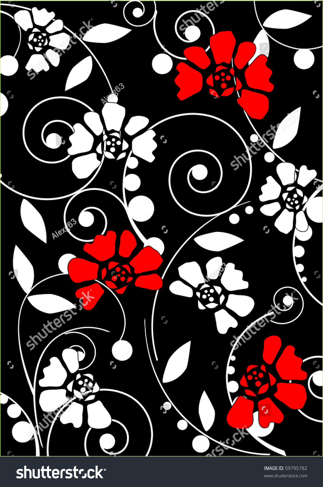 White Red Flowers On Black Background Stock Vector Royalty Free