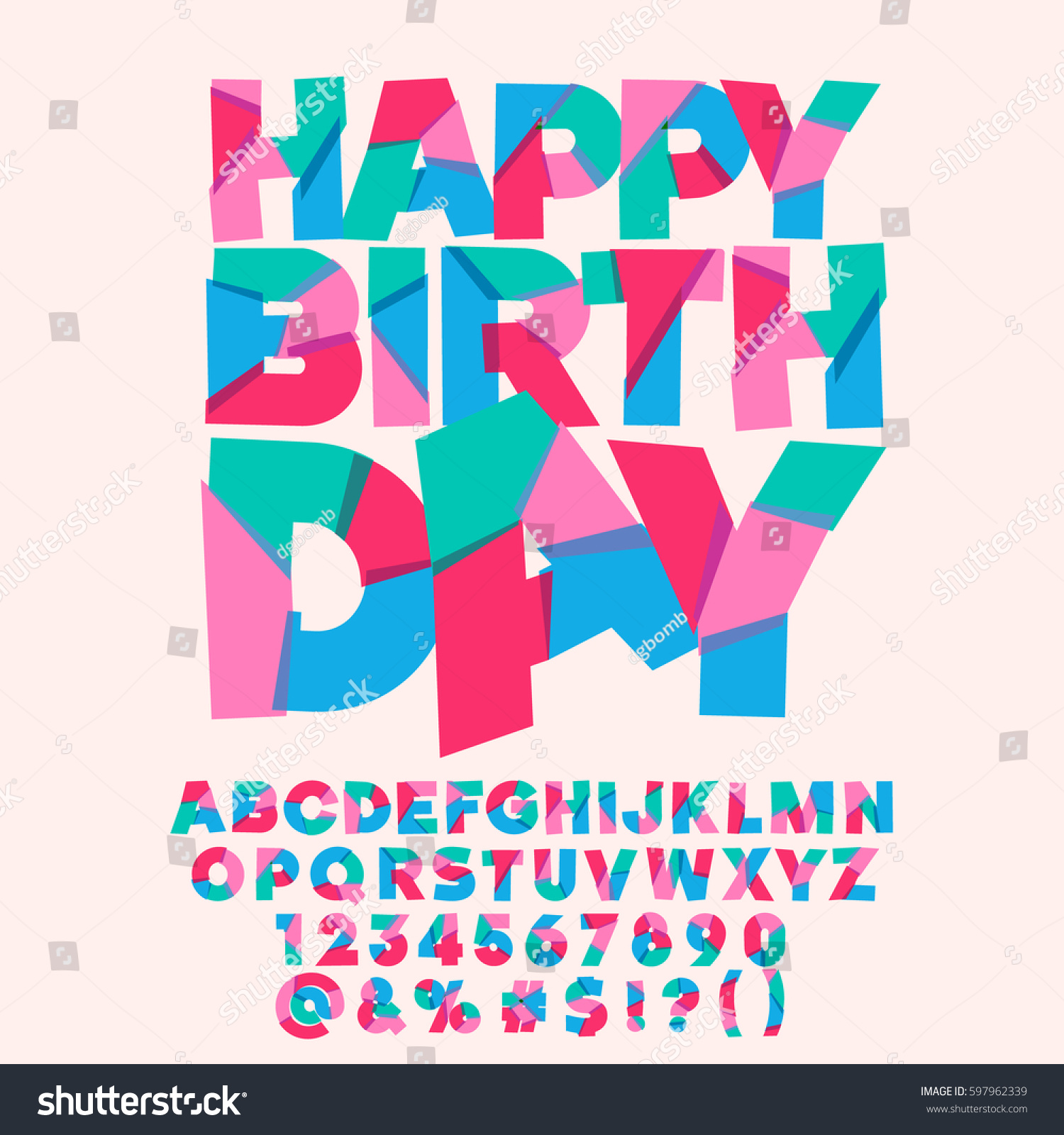 Cute Happy Birthday Greeting Card Vector Set Of Colorful Letters Numbers And Symbols