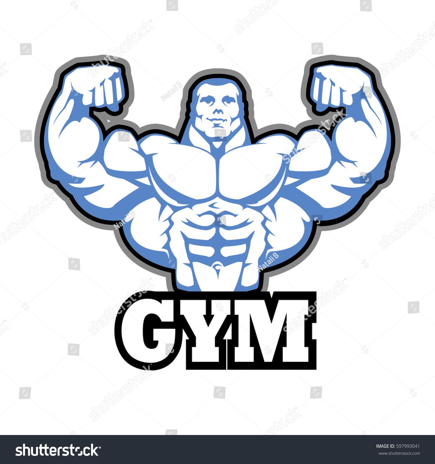 Gym logo vector design muscle man stock vector 597993041 - Posters para gimnasios ...